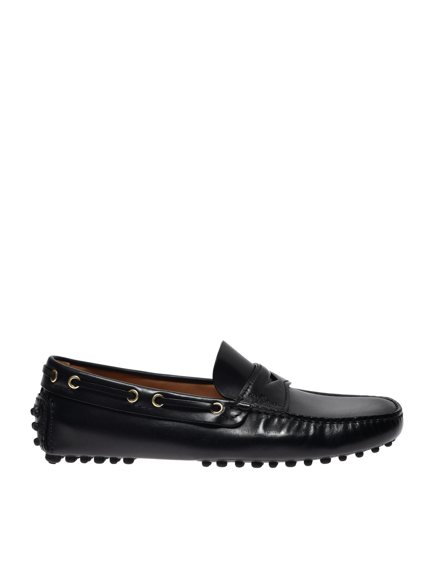 Car Shoe DRIVING MOCCASINS IN BLACK LEATHER
