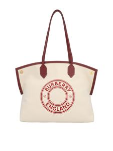 Burberry - Medium Tote Society bag in white and burgundy
