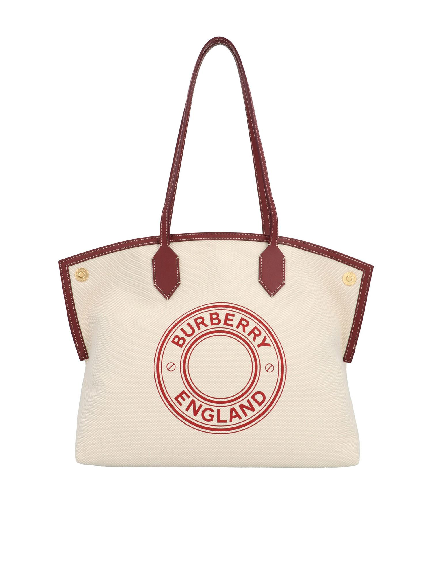 Burberry Medium Tote Society Bag In White And Burgundy In Red