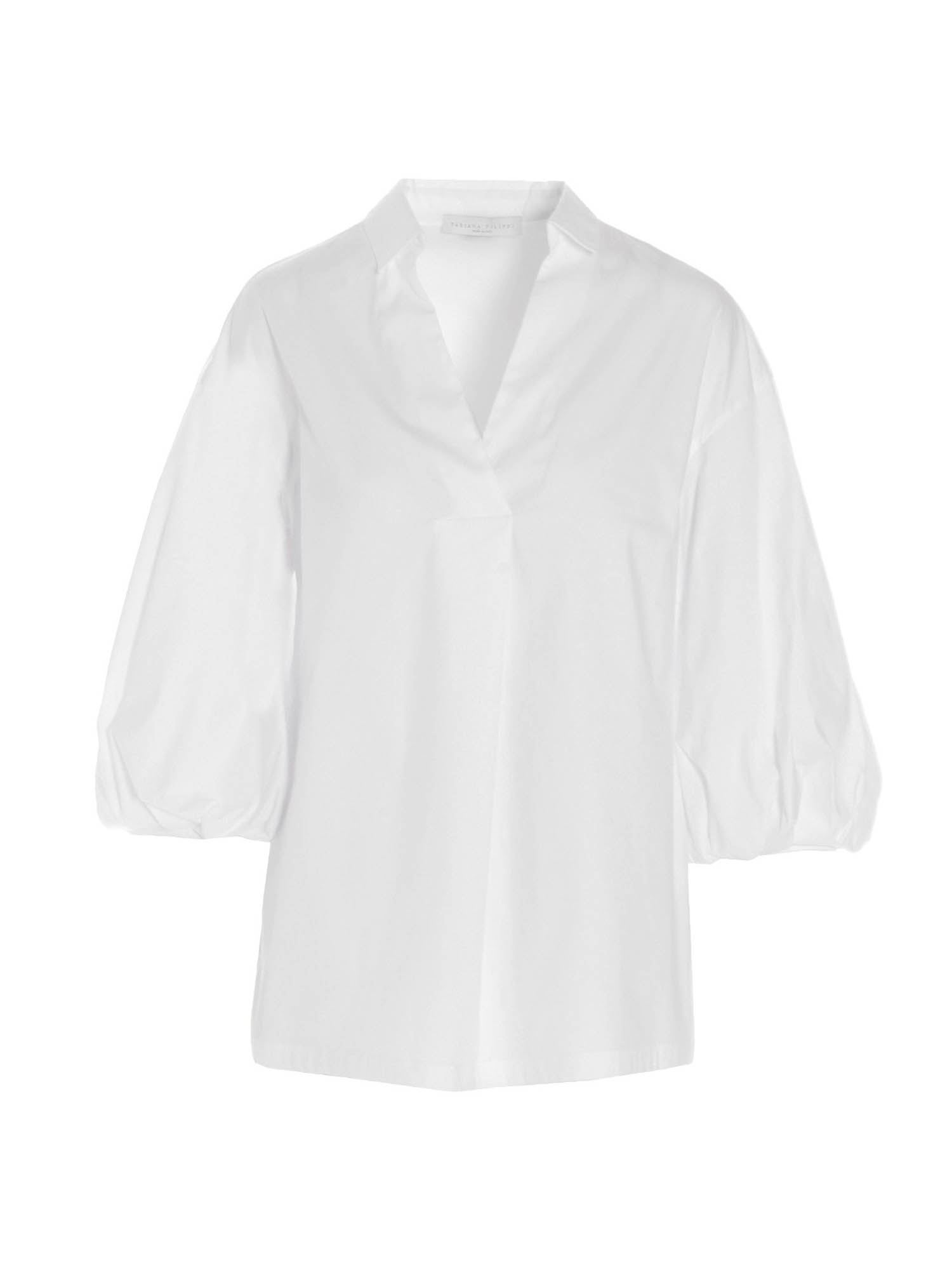 Fabiana Filippi THREE-QUARTER SLEEVE SHIRT IN WHITE