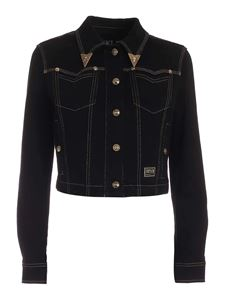 Versace Jeans Couture - Stitching denim jacket in black