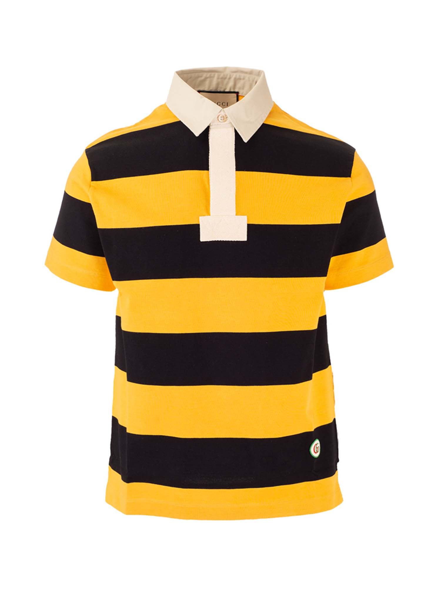 Gucci Cottons STRIPED POLO SHIRT IN YELLOW AND BLACK