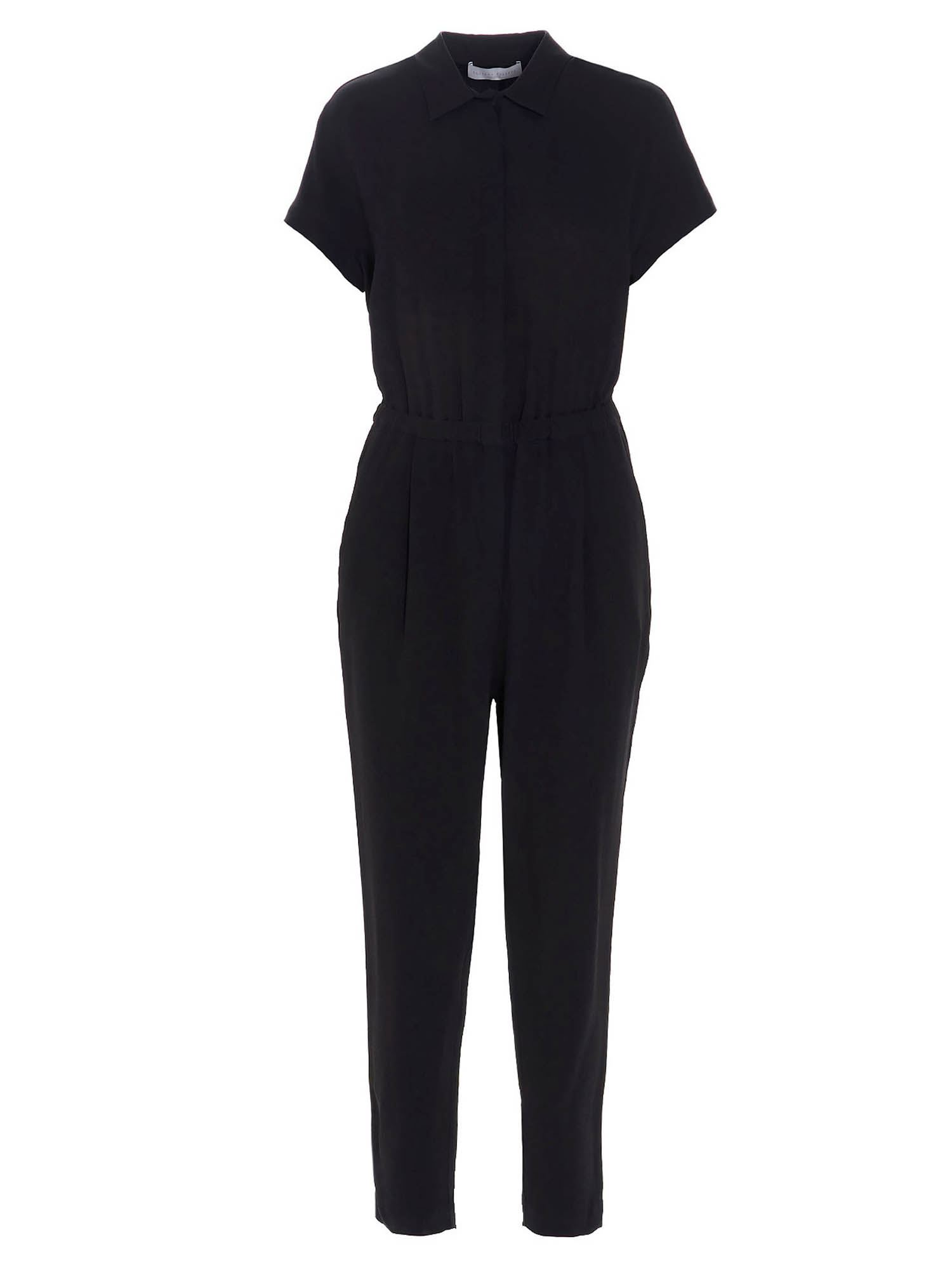 Fabiana Filippi SHORT SLEEVED OVERALLS IN BLACK