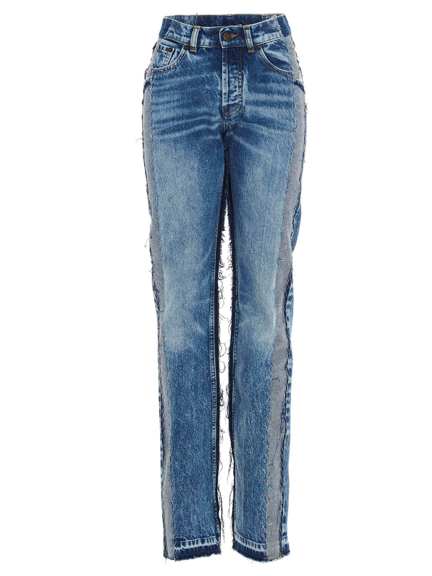 Maison Margiela RECYCLED PATCHWORK JEANS IN BLUE