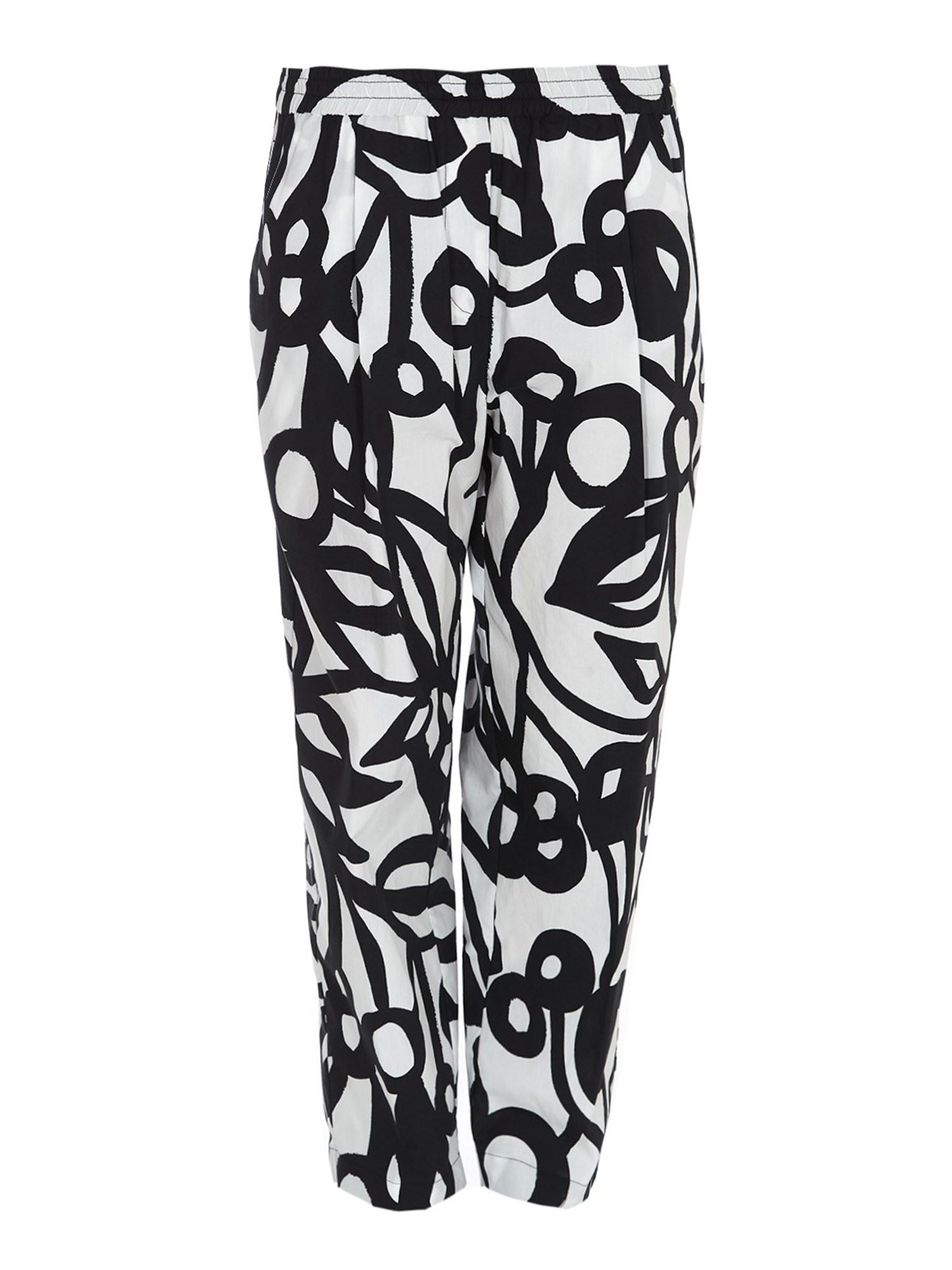 Aspesi PATTERNED COTTON TROUSERS IN WHITE
