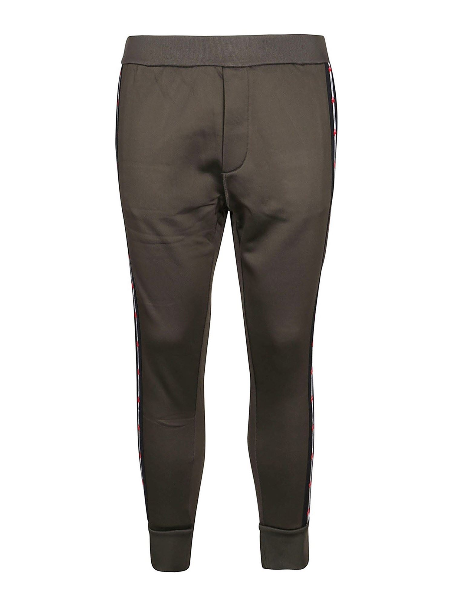 Dsquared2 COTTON BLEND TROUSERS IN GREEN
