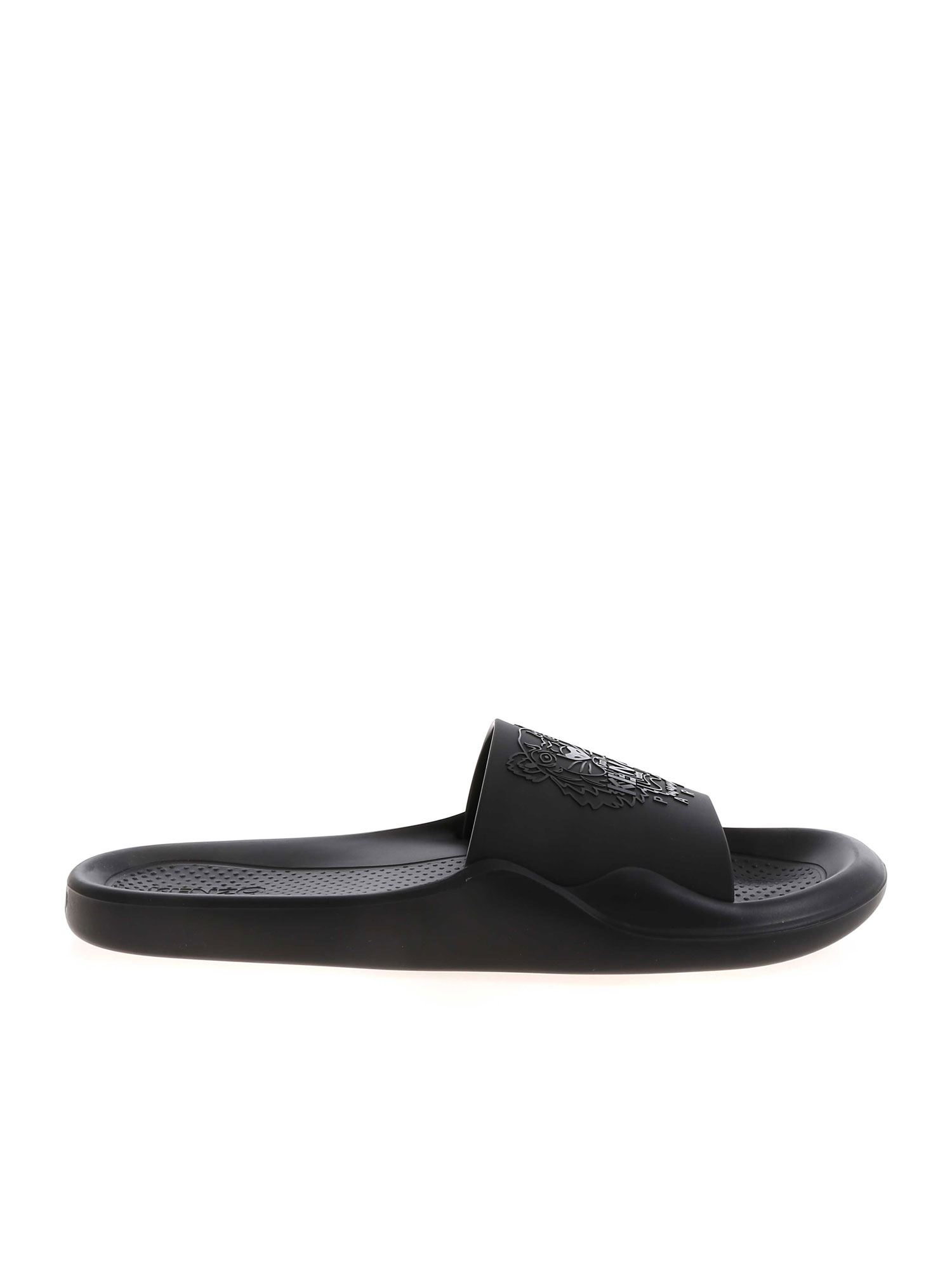 Kenzo LOGO DETAIL SLIPPERS IN BLACK