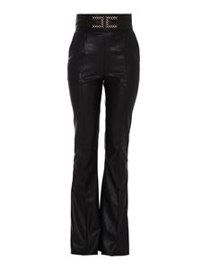 Elisabetta Franchi - Faux leather flared trousers in black