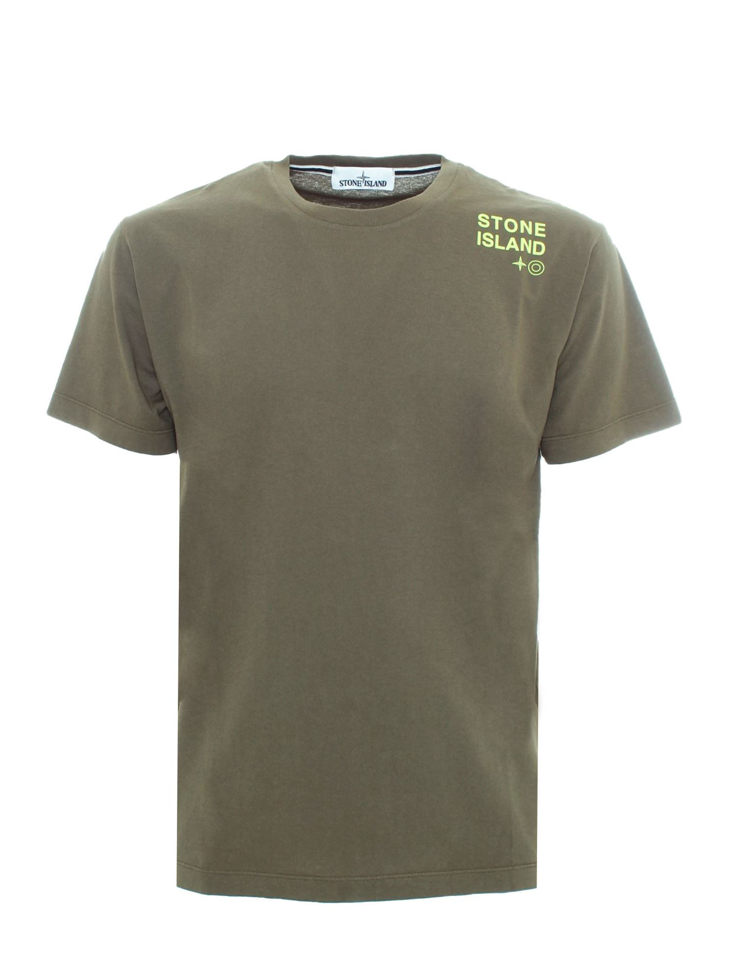 Stone Island LOGO LETTERING T-SHIRT IN MILITARY GREEN