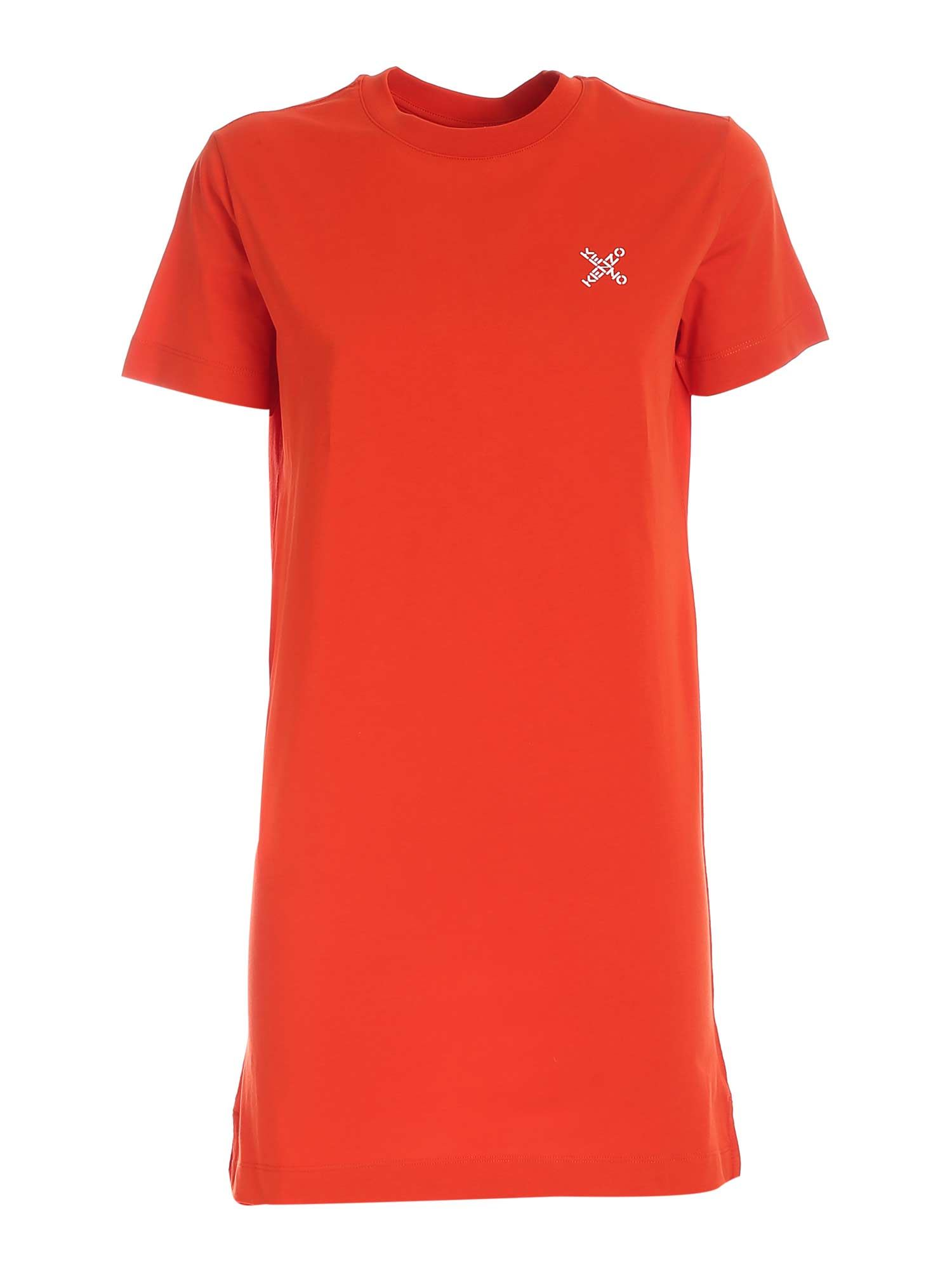 Kenzo CONTRASTING PRINT SHORT DRESS IN RED