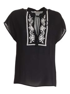 True Royal - White embroidery blouse in black