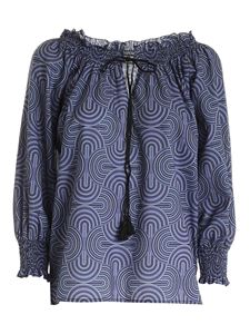True Royal - Printed blouse in blue and black
