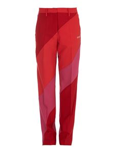 Off-White - Diagonal stripes pants with ironed pleat in red