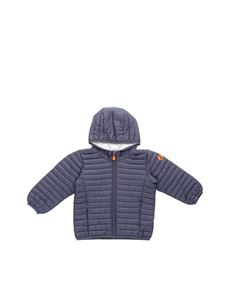 Save the duck - Padded hooded jacket in blue