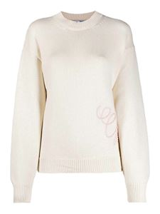 Off-White - Ribbed pullover with logo embroidery in cream
