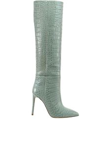 Paris Texas - Croc print leather boots in green