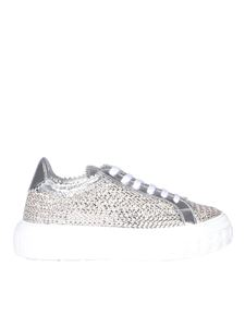 Casadei - Woven calfskin sneakers in silver color
