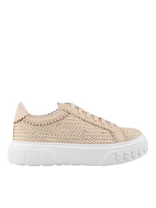 Casadei - Woven calfskin sneakers in powder pink