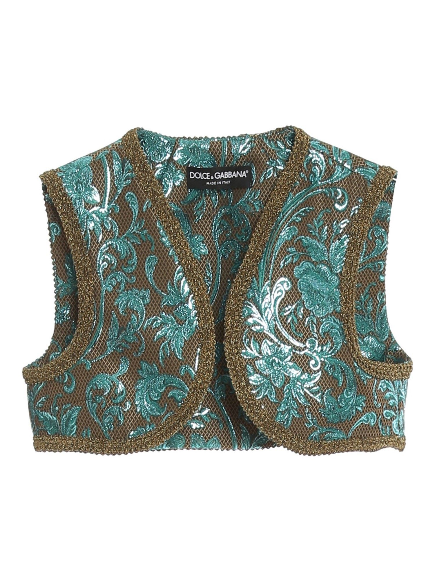 Dolce & Gabbana DAMASK CROPPED GILET IN MULTICOLOR