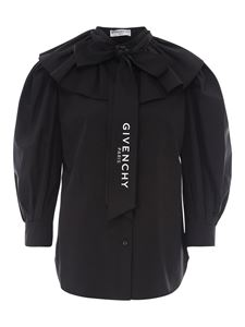 Givenchy - Ruffled cotton shirt in black