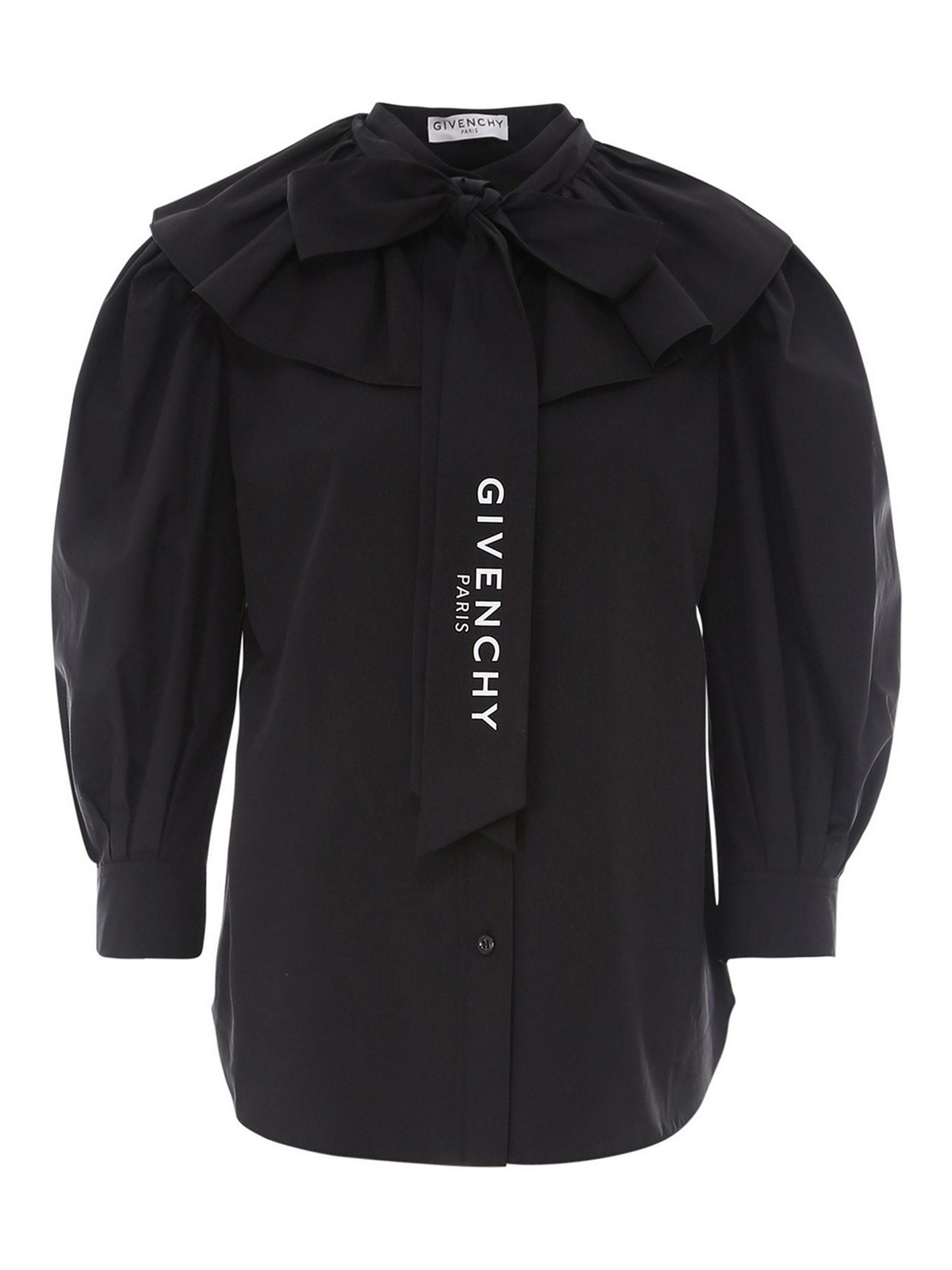 Givenchy RUFFLED COTTON SHIRT IN BLACK