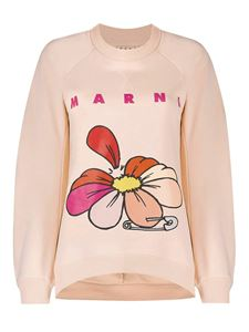 Marni - Sweater with flower and pin print in pink