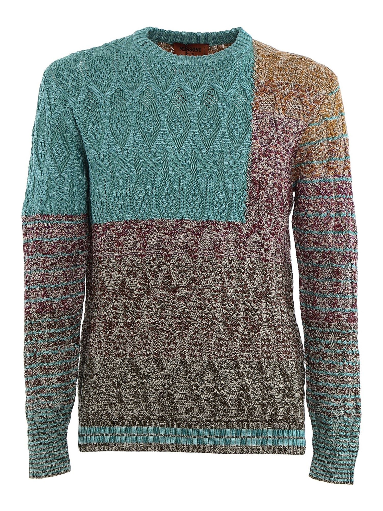 Missoni Knits COTTON PATCHWORK JUMPER IN MULTICOLOR