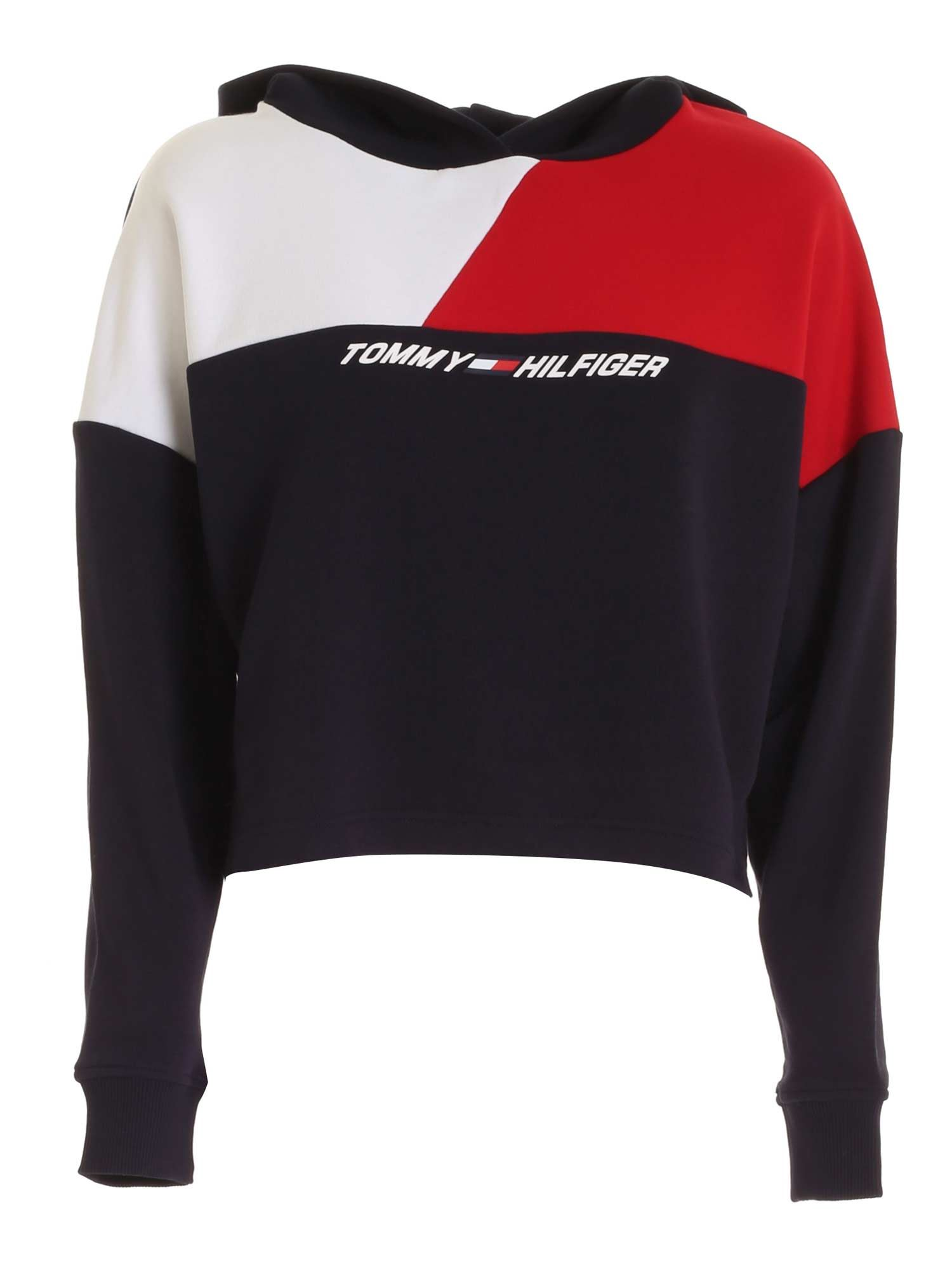 Tommy Hilfiger CROP SWEATSHIRT IN BLUE RED AND WHITE