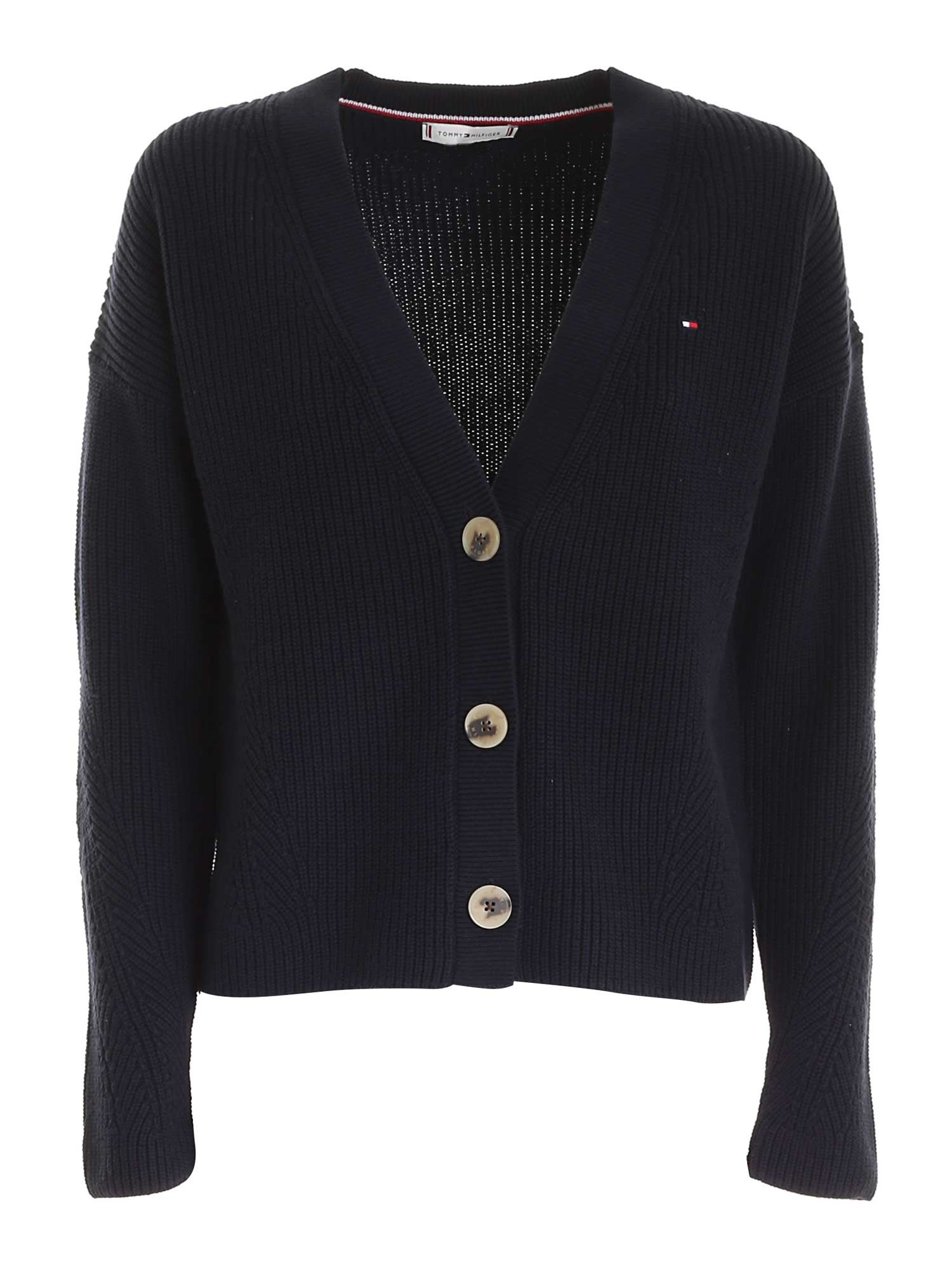 Tommy Hilfiger LOGO EMBROIDERY BOXY CARDIGAN IN BLUE