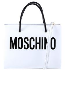 Moschino - Contrasting logo leather tote in white