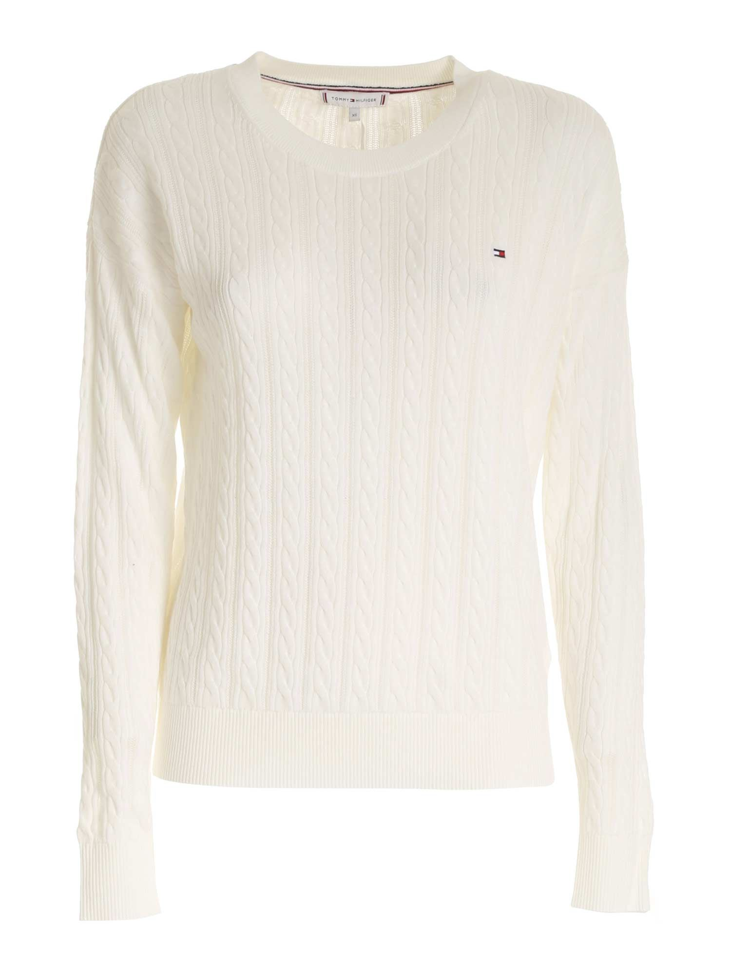 Tommy Hilfiger LOGO EMBROIDERY SWEATER IN WHITE