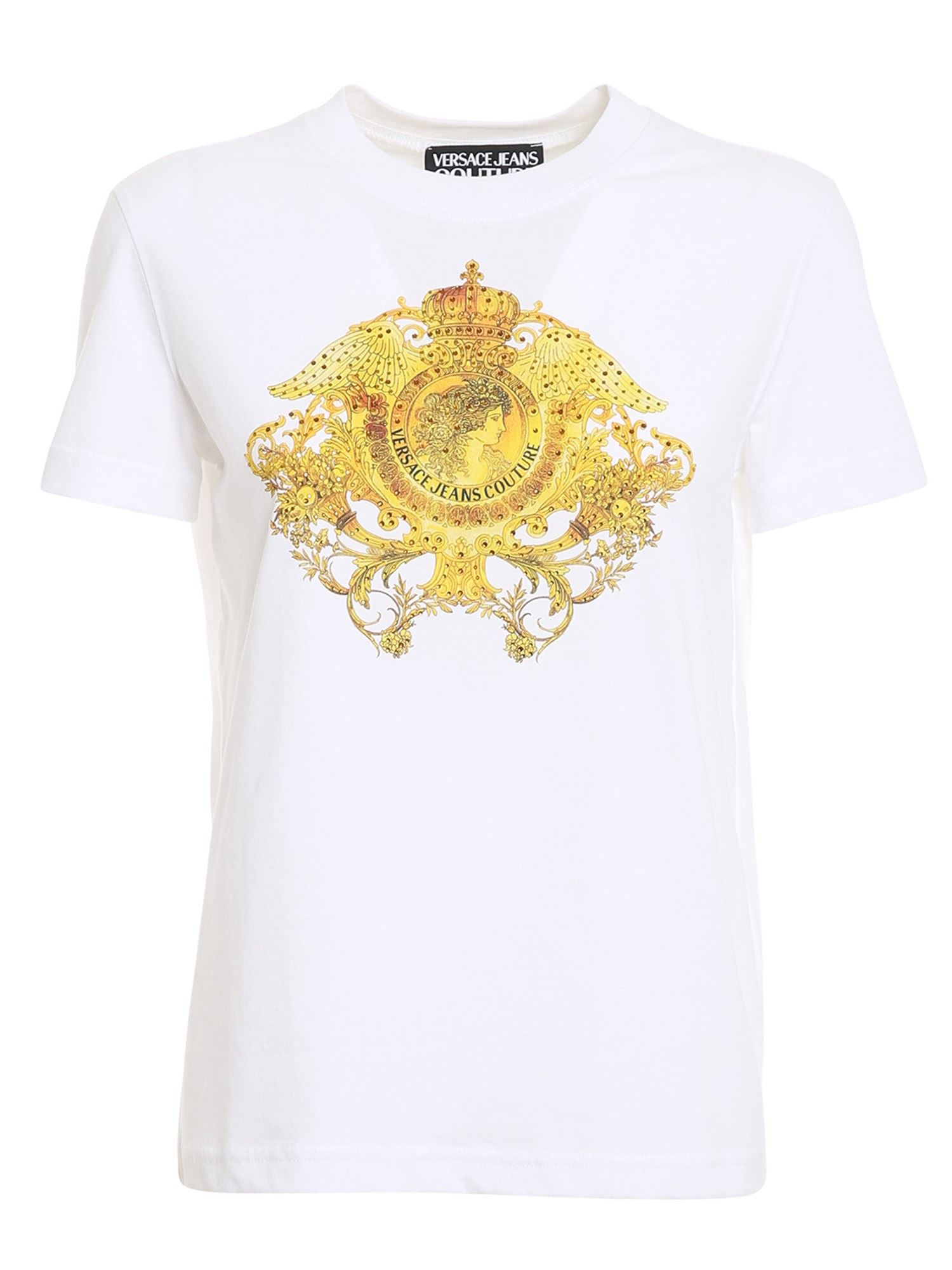 Versace Jeans Couture GOLDEN LOGO T-SHIRT IN WHITE