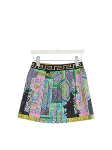Versace Young - Gonna a pieghe Barocco Patchwork verde