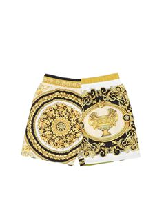 Versace Young - Baroque swim trunks in yellow
