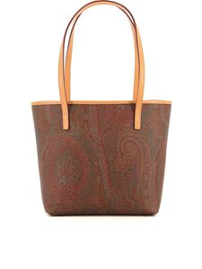 Etro - Small coated canvas tote bag in brown
