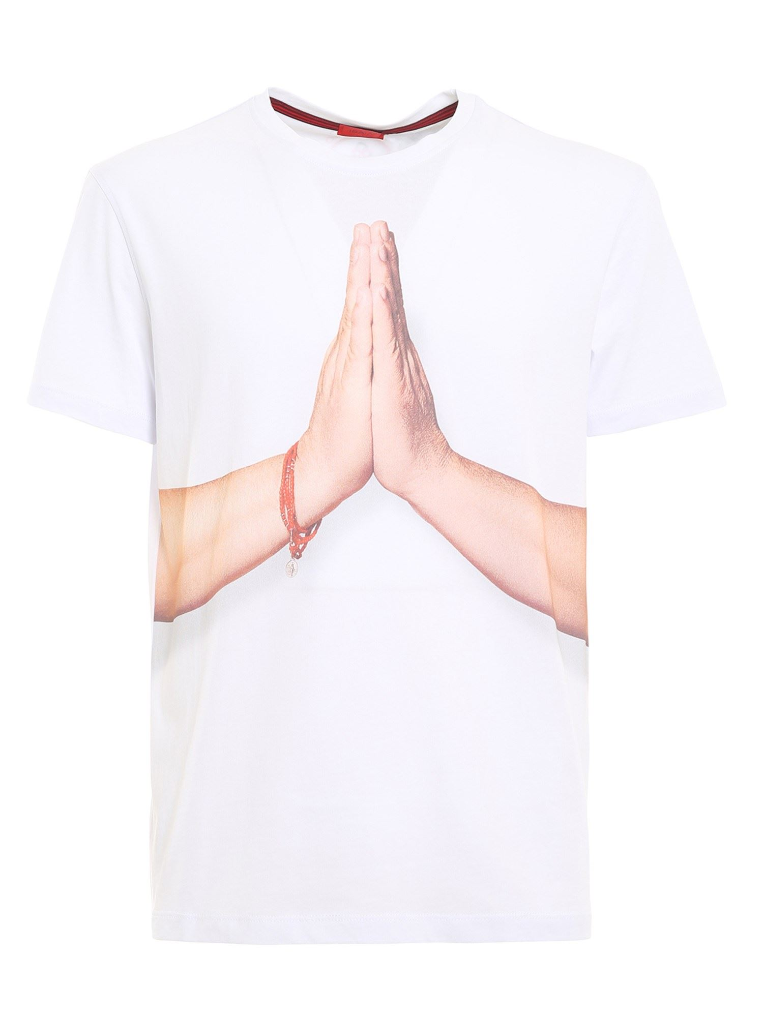 Isaia T-shirts 12 GESTI PRINTED T-SHIRT IN WHITE