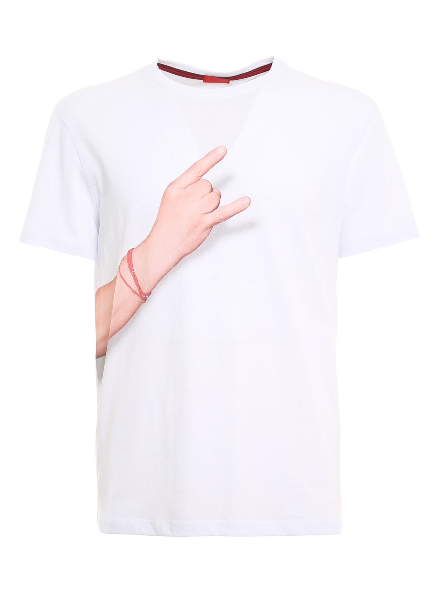 Isaia Cottons 12 GESTI PRINTED T-SHIRT IN WHITE