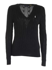 POLO Ralph Lauren - Cable-knit cotton jumper in black