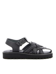 Y's Yohji Yamamoto - Woven leather sandals in black