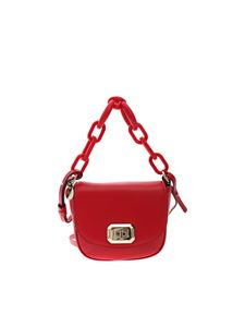 Red V - Maxi handle leather bag in red