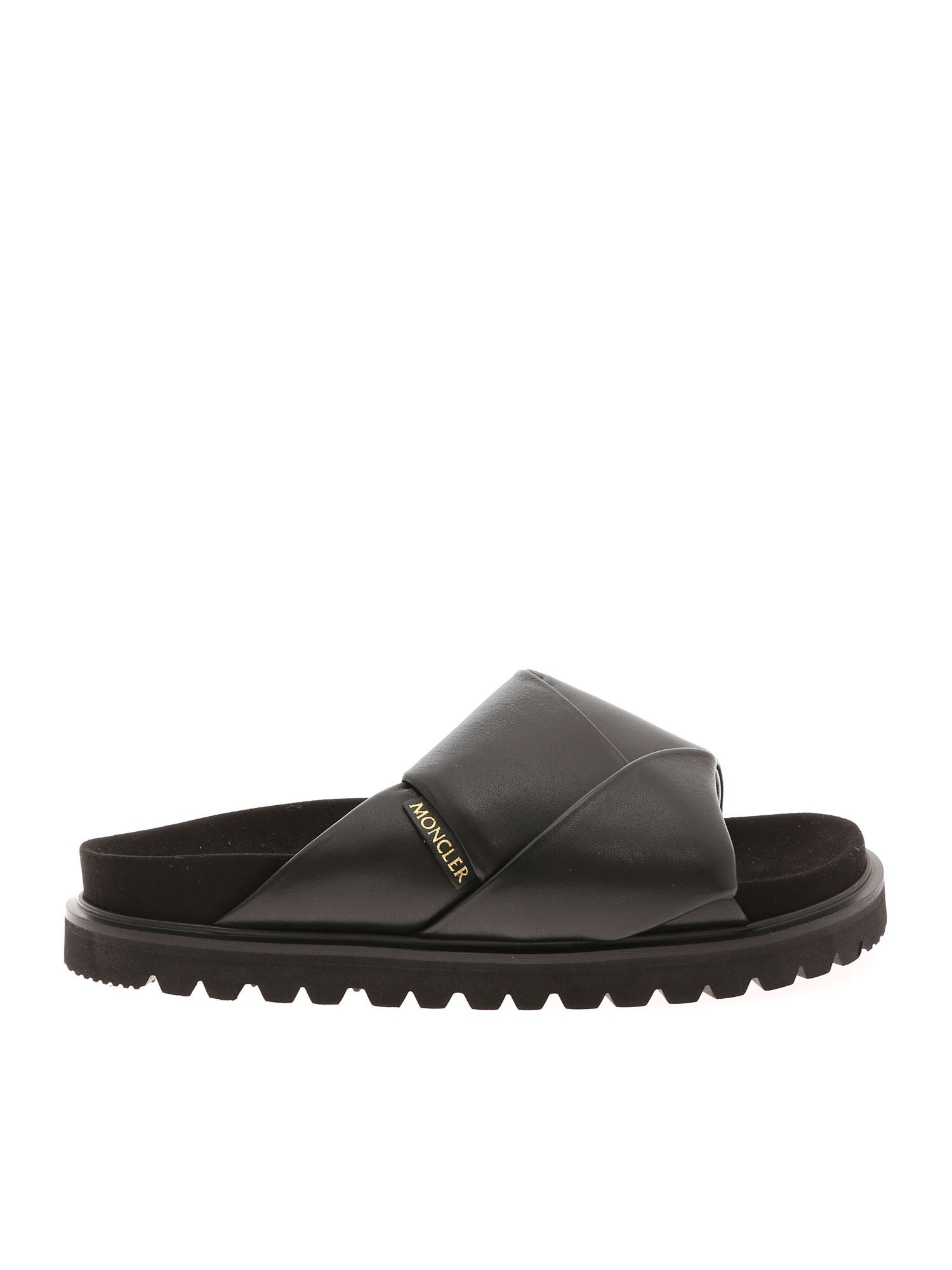 Moncler Leathers FANTINE SLIPPERS IN BLACK