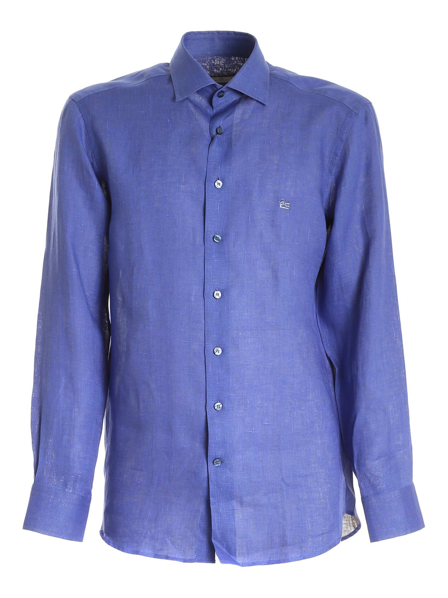 Etro LOGO EMBROIDERY SHIRT IN BLUE