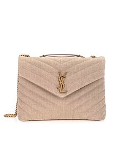 Saint Laurent - Borsa Loulou media in lino beige