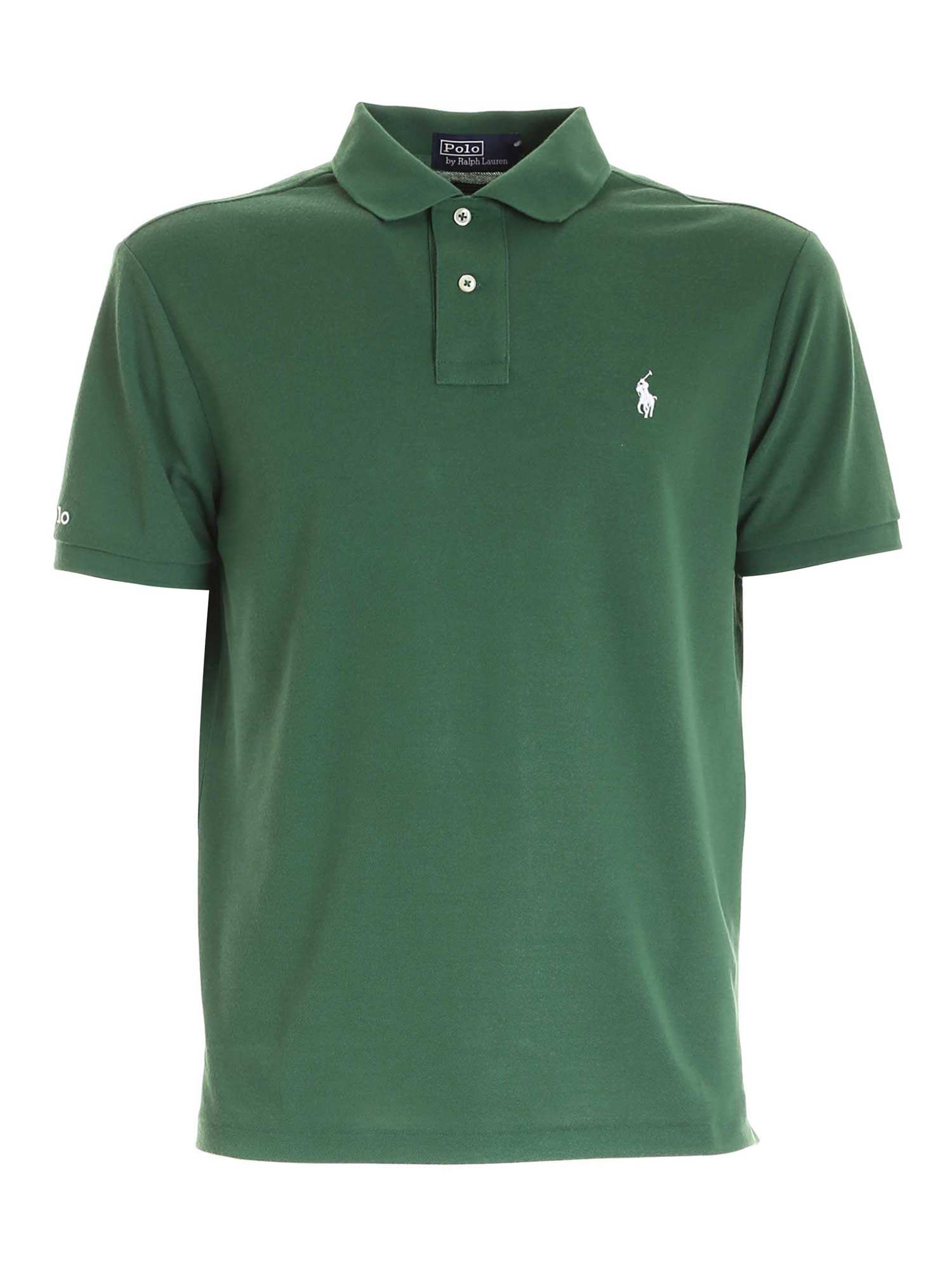 Polo Ralph Lauren White Embroidery Polo Shirt In Green