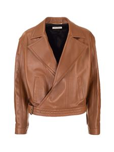 Saint Laurent - Oversized biker jacket in Camel