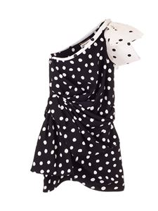 Saint Laurent - Short polka dots one-shoulder dress in black