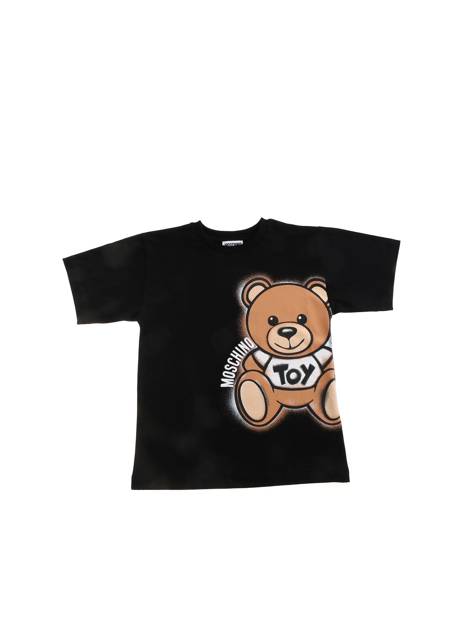 Moschino Cottons MAXI T-SHIRT SPRAY TEDDY IN BLACK