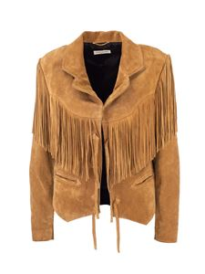 Saint Laurent - Suede fringed jacket in camel-color