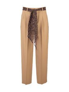 Saint Laurent - Animalier sash trousers in beige