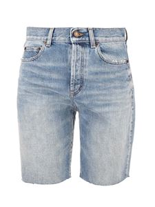 Saint Laurent - Raw-cut hem denim shorts in light blue